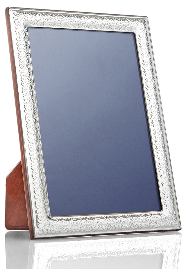 Sterling Silver Floral Frame, 4x6