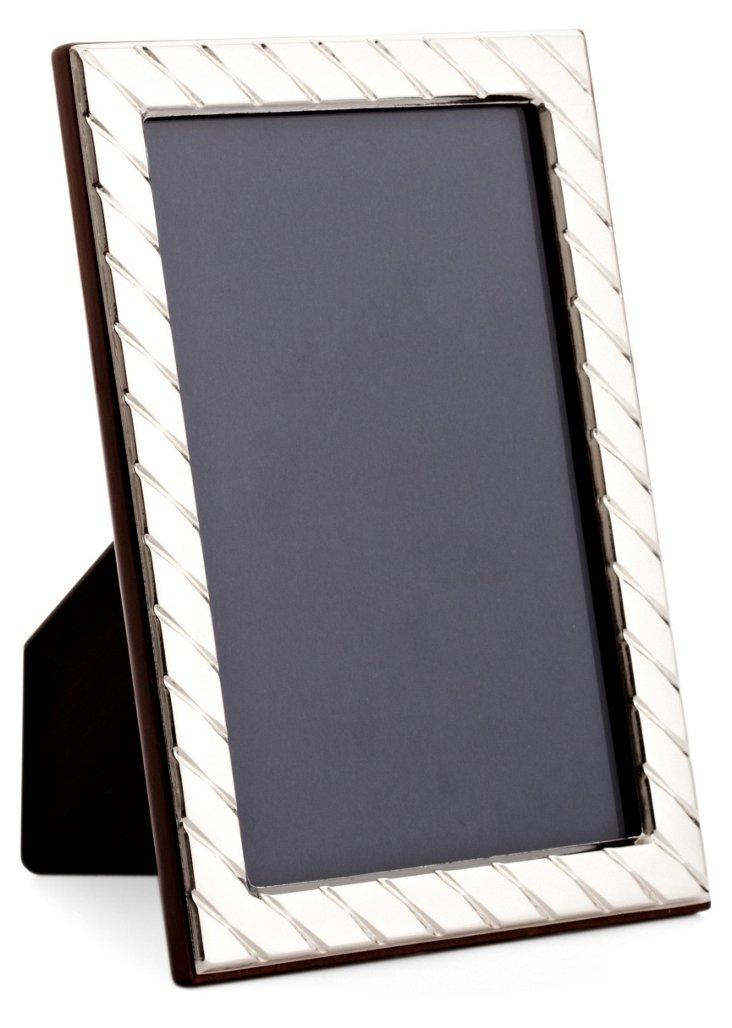 Diagonal Sterling Frame, 4x6, Silver