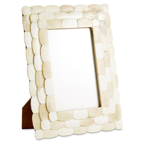 Scalloped Bone Frame, 4x6, Ivory