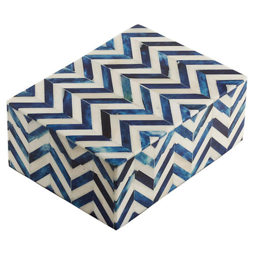 "8"" Chevron Tile Box, Blue"