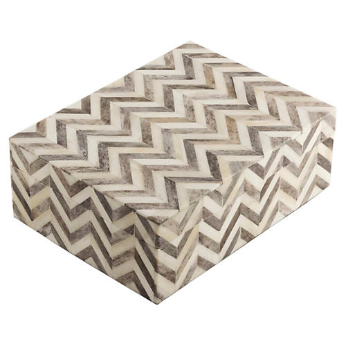 "6"" Chevron Box, Gray"