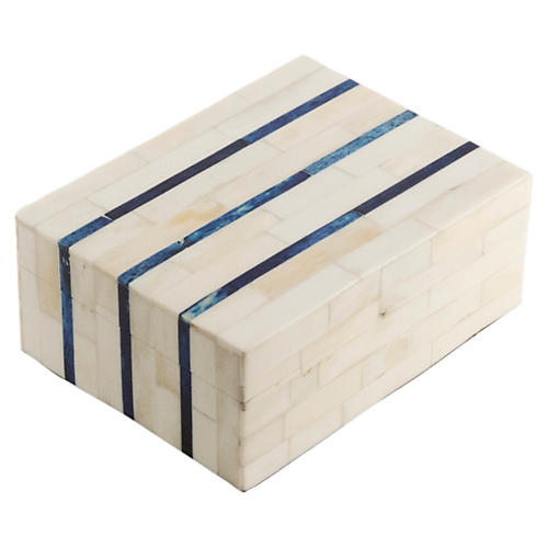 "8"" Double-Stripe Bone-Tile Box, Ivory"