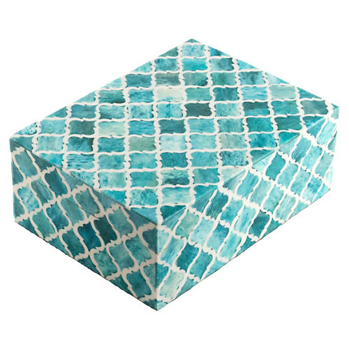 "6"" Moroccan Tile Box, Turquoise"