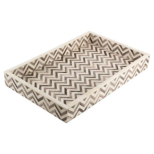 Chevron Tray, Gray