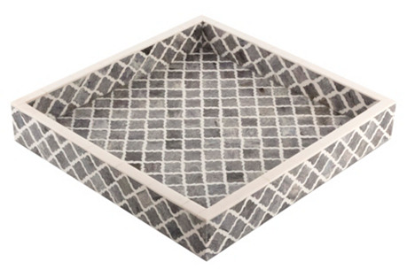 Moroccan Tile Tray, Gray