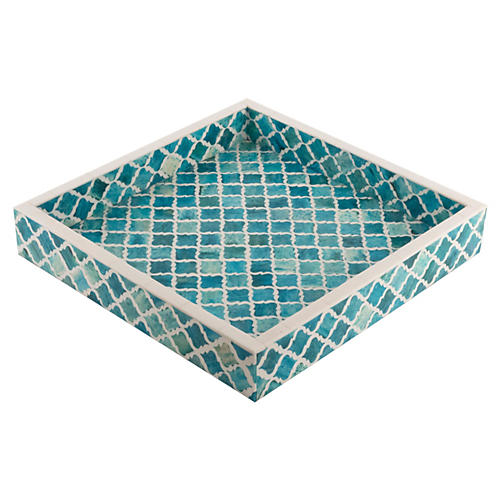 Morrocan Tile Tray, Turquoise