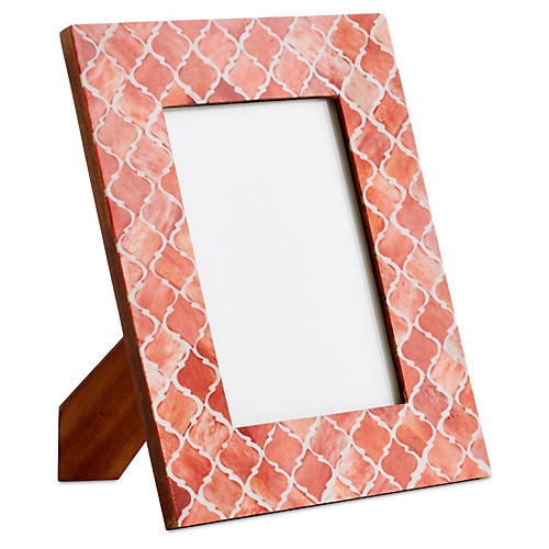 Moroccan Tile Frame, Coral