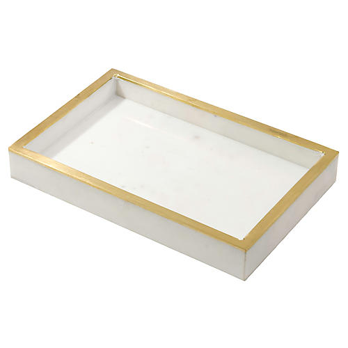 Ariel Decorative Tray, White/Gold