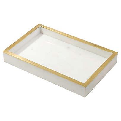Ariel Decorative Tray, White/Gold