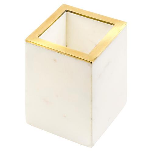 "4"" Ariel Pencil Holder, White/Gold"