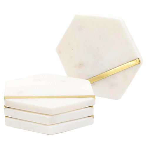 S/4 Ariel Coasters, White/Gold