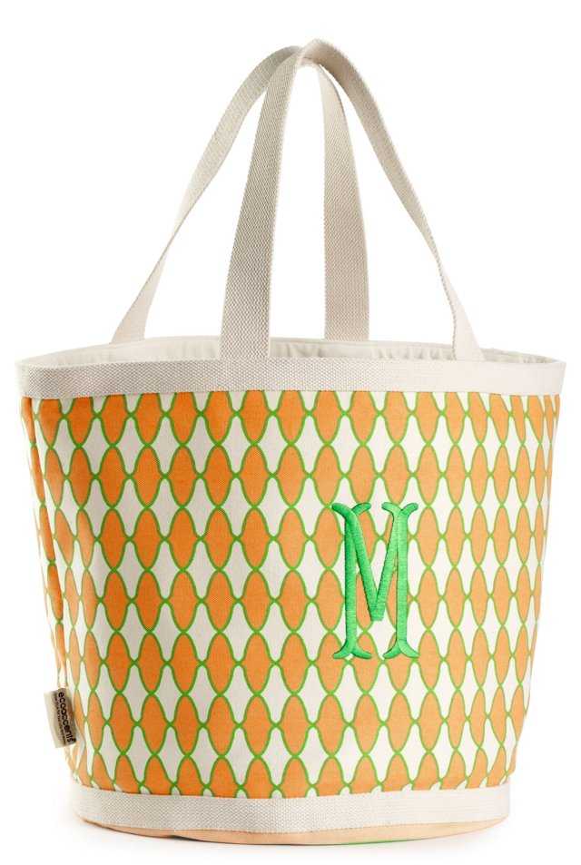 Embroidered Initial Geo Bag, Green