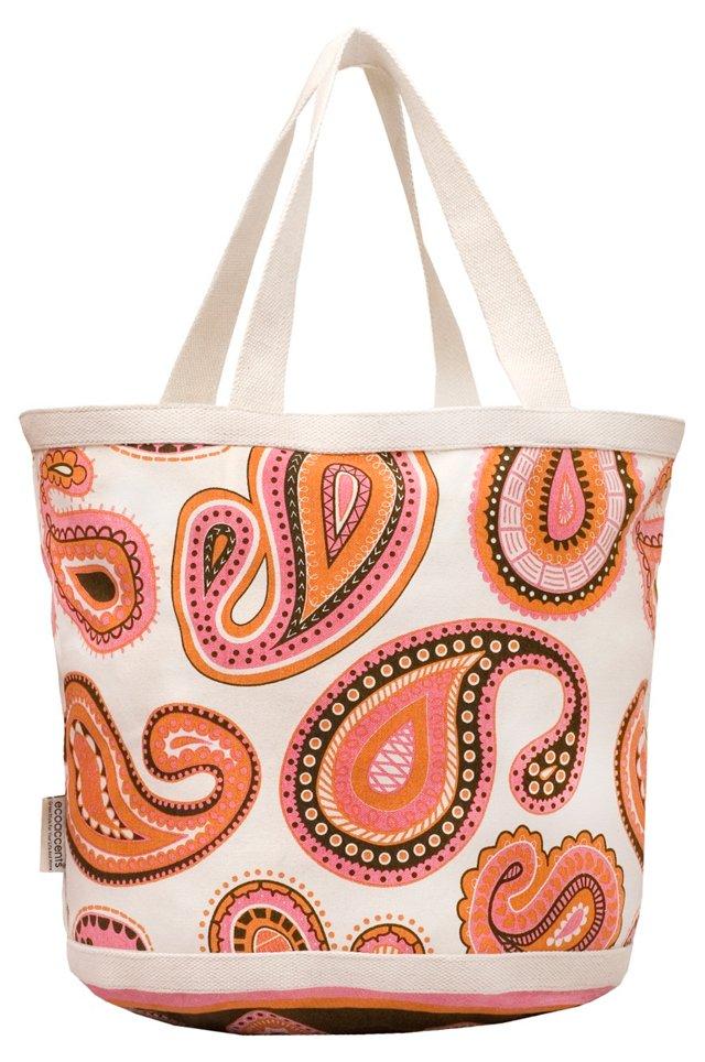 Large Paisley Bag, Pink/Orange