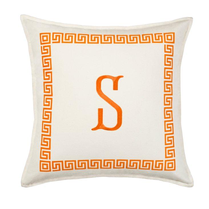 Greek Key 18x18 Monogram Pillow, Orange