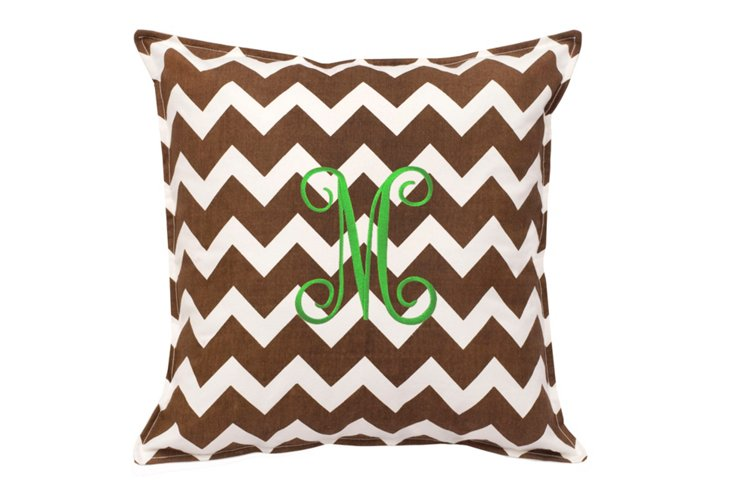 Chevron 18x18 Monogram Pillow, Brown