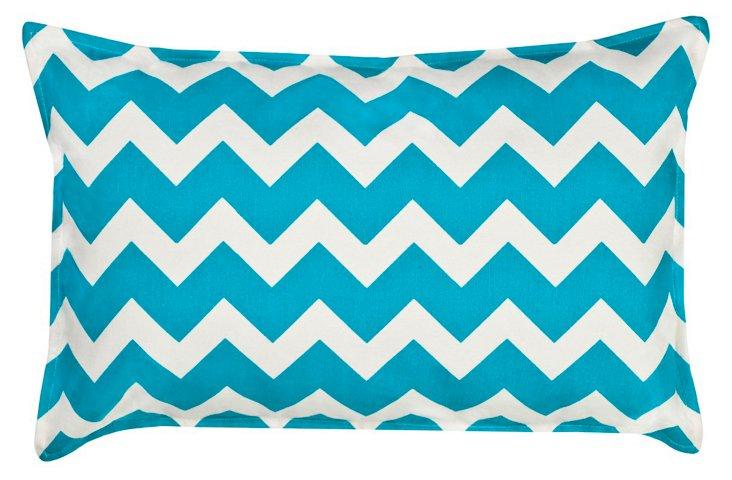 Chevron 14x22 Cotton Pillow, Turquoise
