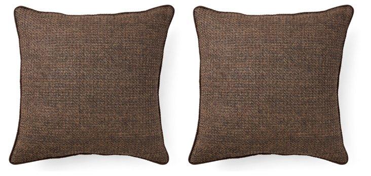 S/2 Raffia 20x20 Outdoor Pillows, Brown