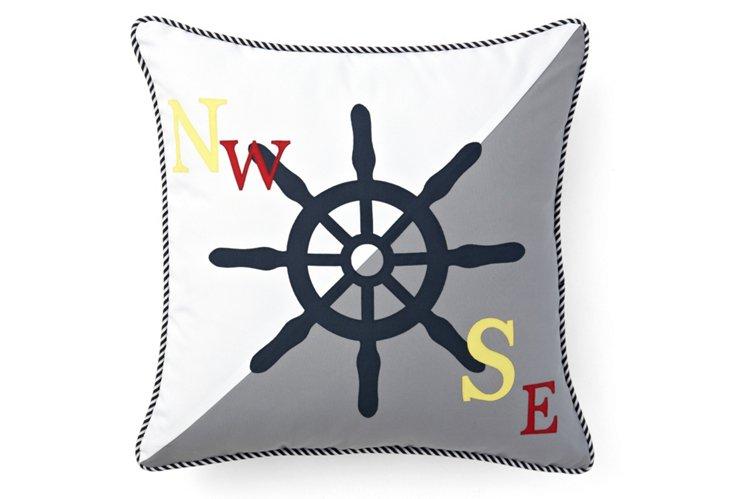 Wheel 20x20 Outdoor Pillow, Gray/White