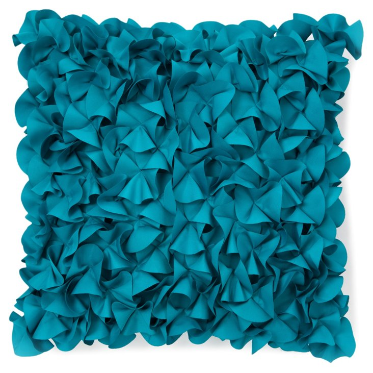 Petals 18x18 Outdoor Pillow, Turquoise