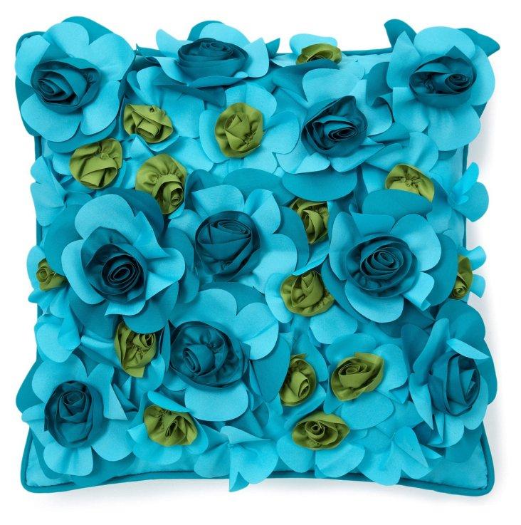 Bouquet 18x18 Outdoor Pillow, Aqua