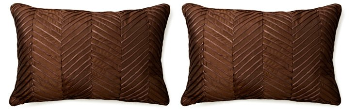 S/2 Zigzag 14x21 Pillows, Brown