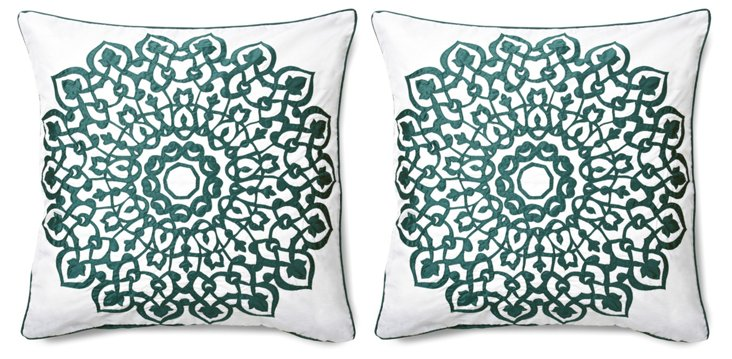 Set of 2 Laser 20x20 Pillows, Mineral