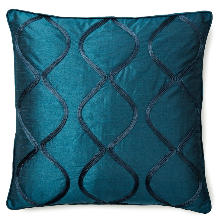 Sound Wave 20x20 Pillow, Teal