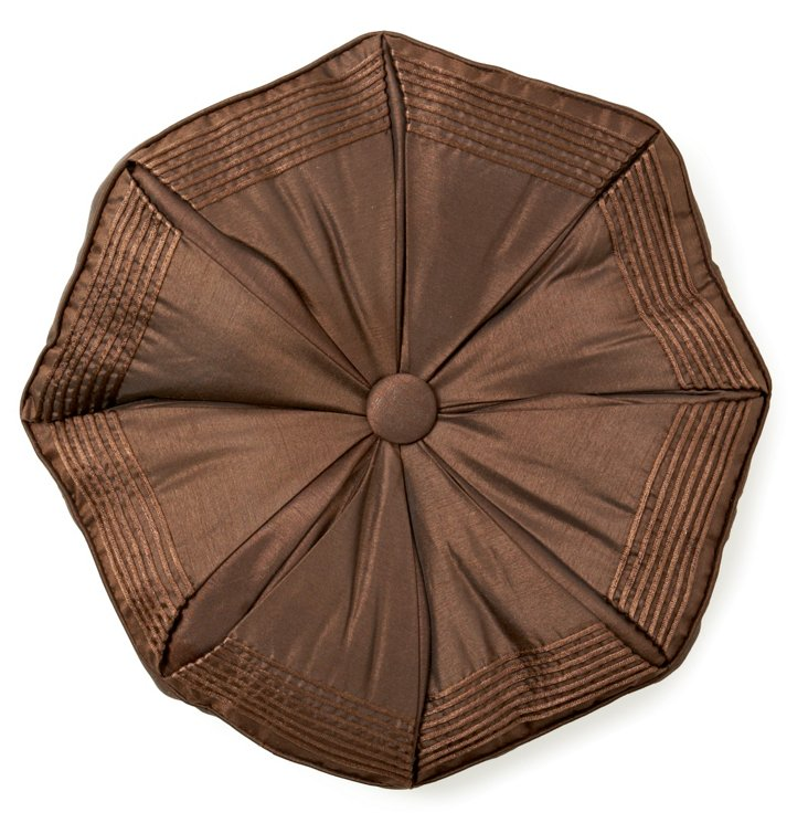 Corded Octagon Pillow, Chocolate