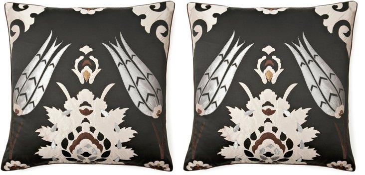 S/2 Moroccan 26x26 Pillows, Metallic
