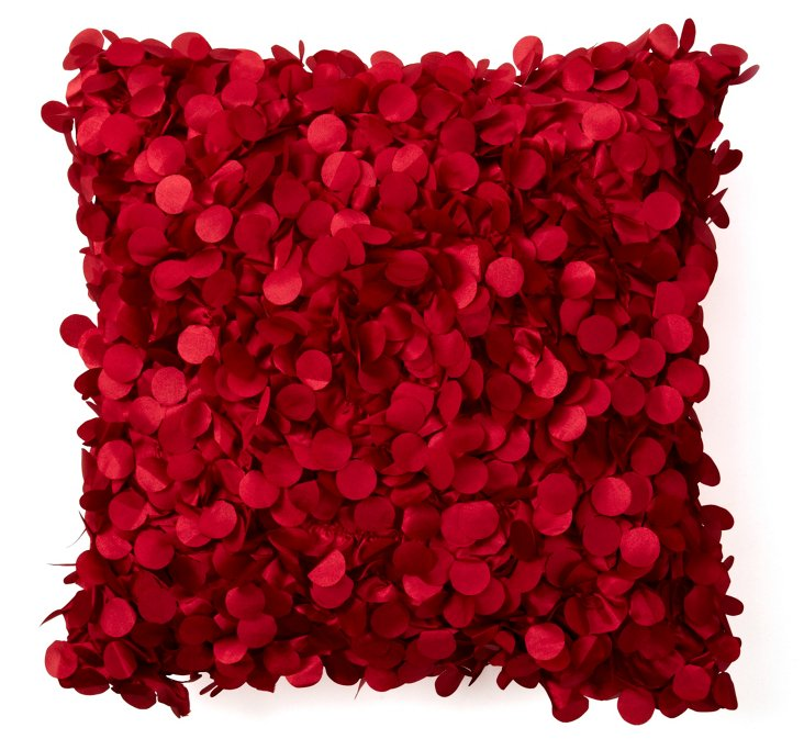 Hydrangea 20x20 Pillow, Red