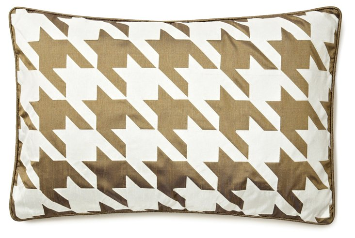 Houndstooth 14x21 Pillow, Gold/Cream