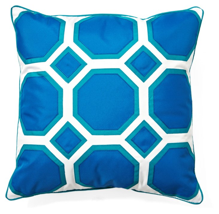 Comb 20x20 Outdoor Pillow, Blue