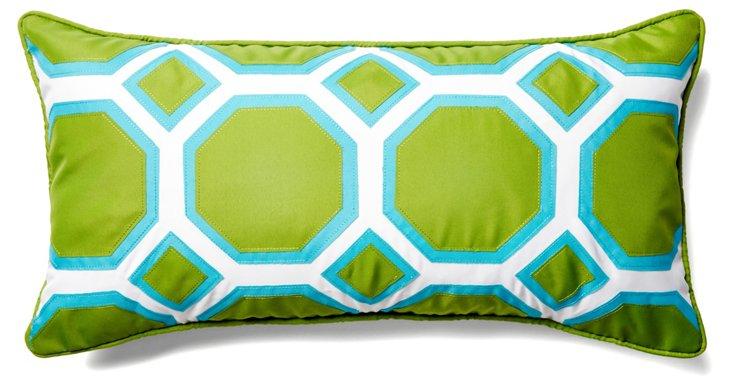 Comb 13x25 Outdoor Pillow, Green