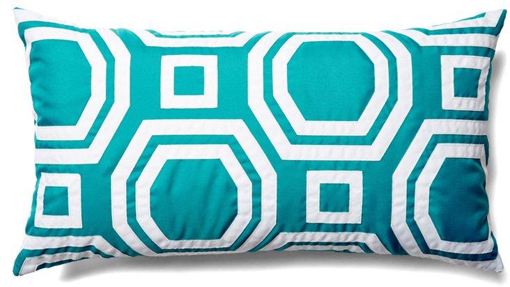 Geo 14x26 Outdoor Pillow, Turquoise