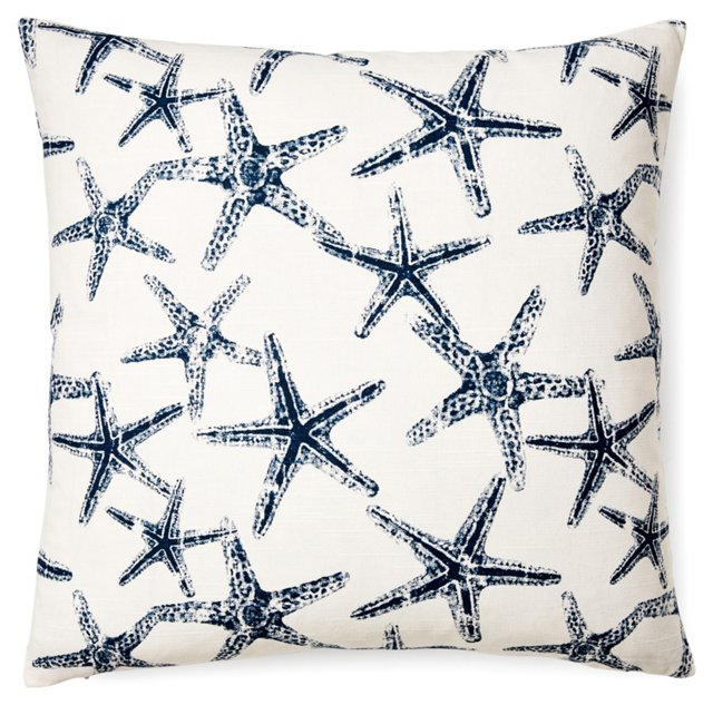 Starfish 20x20 Cotton Pillow, Navy