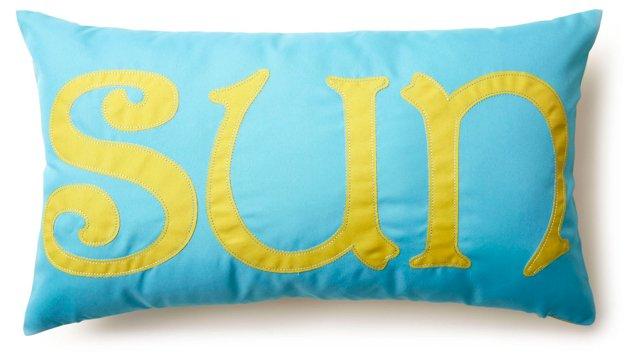 """Sun"" 12x21 Outdoor Pillow, Aqua"