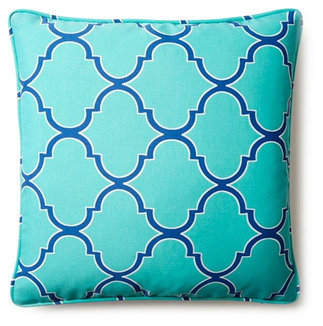 Lattice 20x20 Outdoor Pillow, Aqua