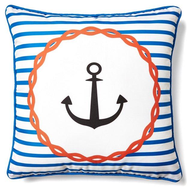 Striped Anchor 18x18 Pillow, Multi