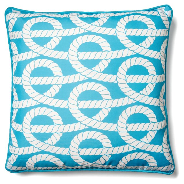 Twisted Rope 18x18 Outdoor Pillow, Aqua