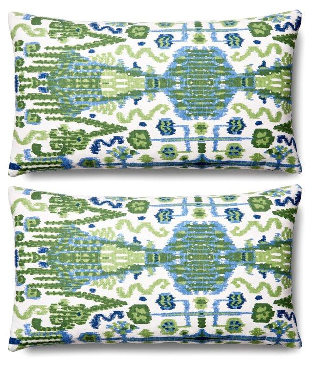 S/2 Bombay 11x20 Cotton Pillows, Green
