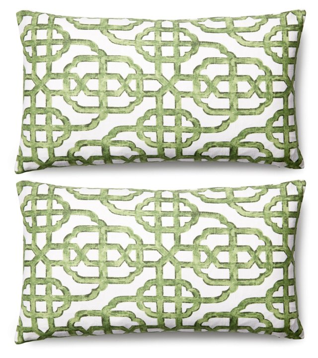 S/2 Imperial 11x20 Cotton Pillows, Jade