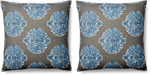 S/2 Madras 20x20 Cotton Pillows, Gray