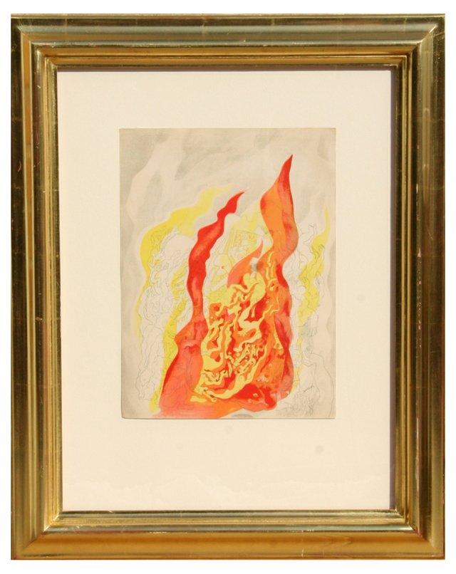 "Abraham Rattner, ""Fire"" Lithograph 1937"