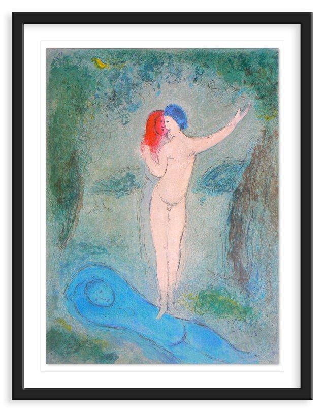 "Marc Chagall,Mourlot 316, ""Chloe's Kiss"""