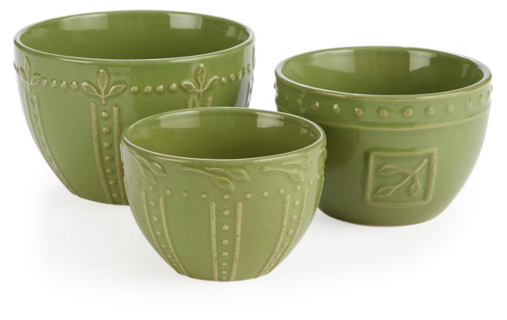 S/3 Assorted Mixing Bowls, Oregano