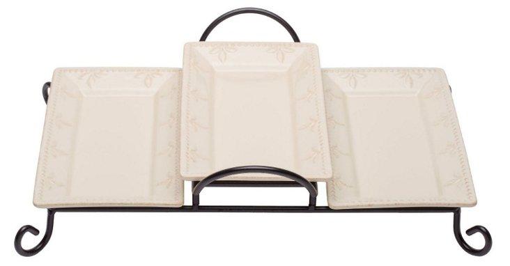 S/3 Trays w/ Caddy, Ivory