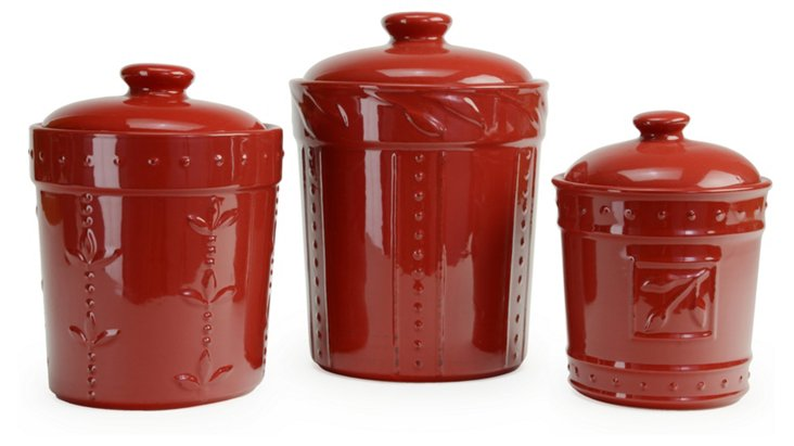 S/3 Assorted Canisters, Ruby