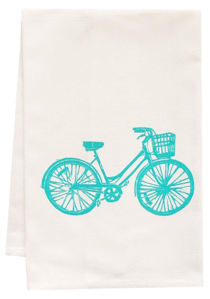 Organic Bicycle Tea Towel, Turquoise