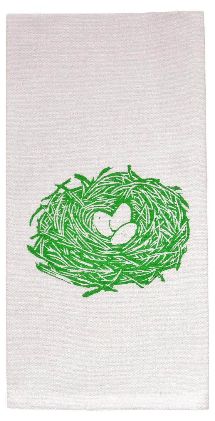 Organic Nest Tea Towel, Green