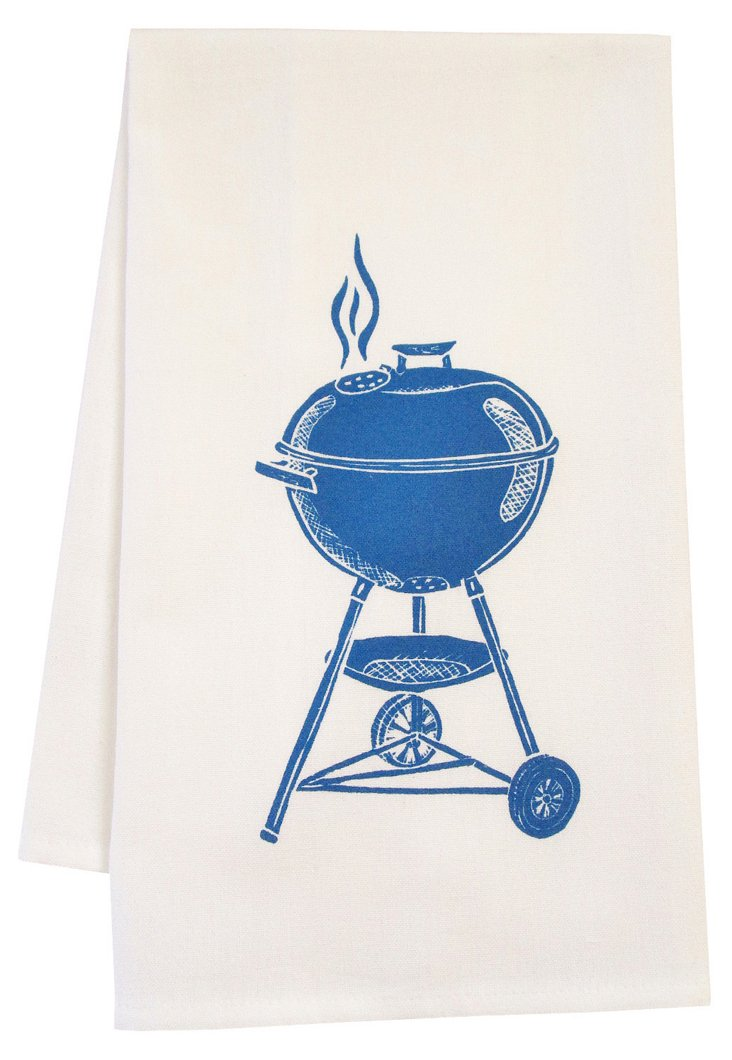 Organic Grill Tea Towel, Blue